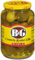 B&G Kosher Dills Crunchy Whole W/Whole Spices Pickles 32 Oz Jar