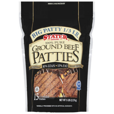 Stater Bros. 100% Pure 15 Ct Ground Beef Patties 5 Lb Stand Up Bag