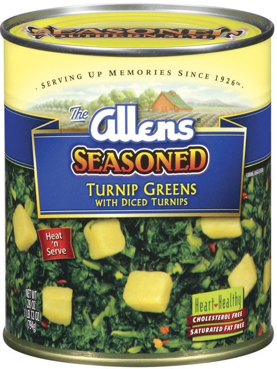 The Allens Seasoned W/Diced Turnips Turnip Greens 28 Oz Can