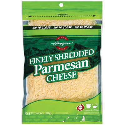 Haggen Finely Shredded Parmesan Cheese 6 Oz Zip Pak