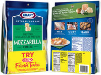 Kraft Natural Shredded Mozzarella Cheese 8 oz. Bag with Bonus Kraft Fresh Take Italian Parmesan Recipe Cheese Breadcrumb Mix 6 oz. Bag