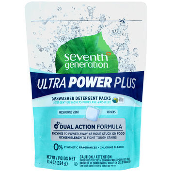 Seventh Generation™ Fresh Citrus Scent Ultra Power Plus Dishwasher Detergent Packs 18 ct Stand Up Bag