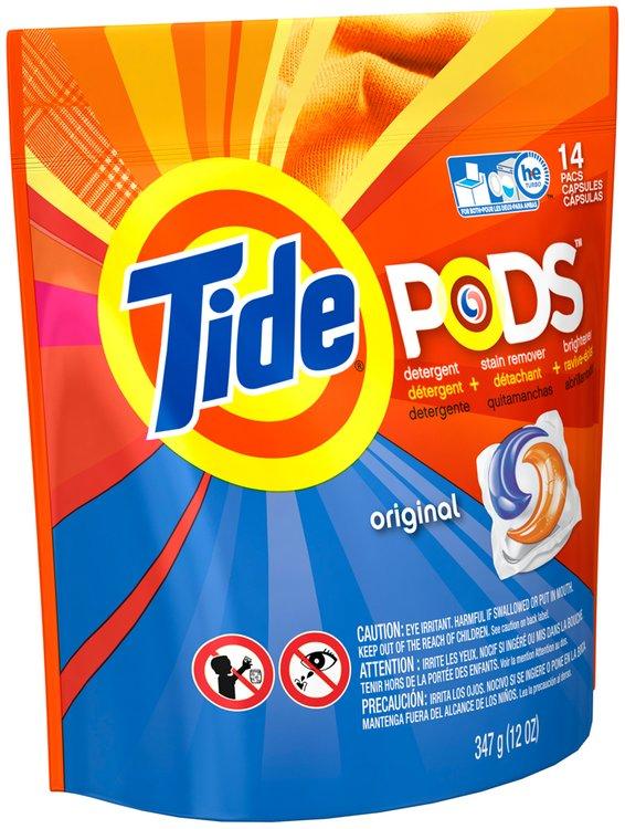 Tide PODS Laundry Detergent Pacs, 14-load tub, Original Scent 12 oz. Pouch
