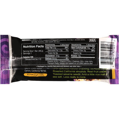 Mrs. May's Naturals® Almond Crunch Snack Bar Cranberry Blueberry 1.7 oz Wrapper
