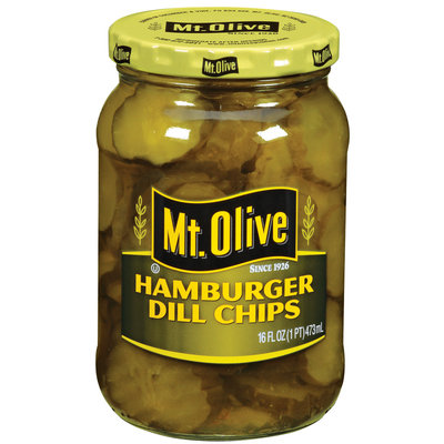 Mt. Olive Hamburger Dill Chips Pickles 16 Oz Jar