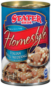 Stater Bros. Homestyle Italian Style Wedding W/Meatballs Soup 18.6 Oz Can