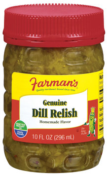 Farman's Genuine Dill Pickle Relish 10 Fl Oz Plastic Jar