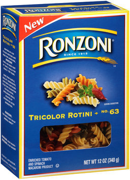 Ronzoni® No. 63 Tricolor Rotini 12 oz. Box