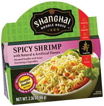 Shanghai Noodle House Spicy Shrimp Steamed Noodles 2.36 Oz Microwave Bowl