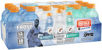 Gatorade Frost Variety Icy Charge/Glacier Cherry/Artic Blitz Sports Drinks 18-12 fl. oz. Plastic Bottle