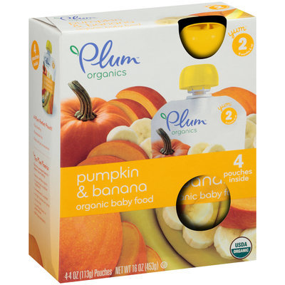 Plum™ Organics Yum™ Stage 2 Pumpkin & Banana Organic Baby Food 4-4 oz. Pouches