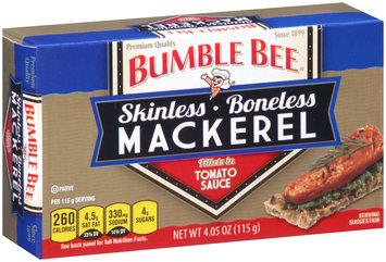 Bumble Bee® Skinless Boneless Mackerel Fillets in Tomato Sauce 4.05 oz. Box