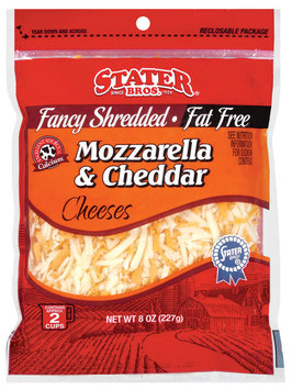 Stater Bros. Fancy Shredded Mozzarella & Cheddar Fat Free Cheese 8 Oz Peg