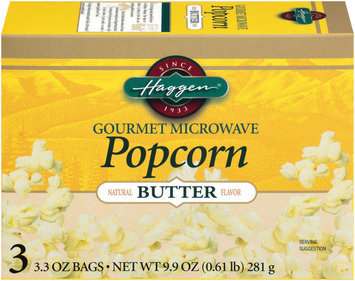 Haggen Gourmet Butter 3.3 Oz Bags Microwave Popcorn 3 Ct Box