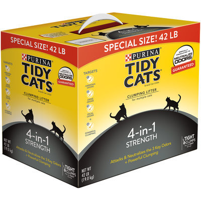 Purina Tidy Cats Clumping Litter 4-in-1 Strength for Multiple Cats 42 lb. Box