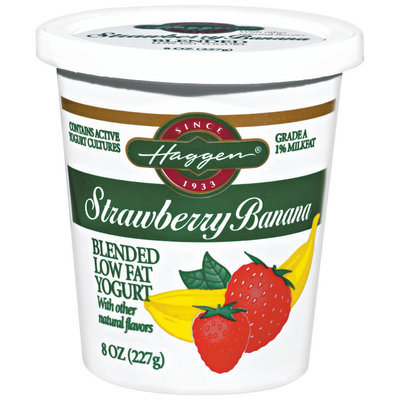 Haggen Strawberry Banana Blended Low Fat Yogurt 8 Oz Cup