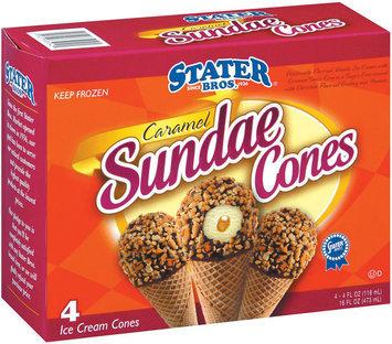 Stater Bros. Caramel Sundae Ice Cream Cones 4 Ct Box