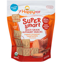 Happy Tot® Super Smart Multi-Grain Organics Cinnamon Sweet Potato & Flaxseed Alphabet Snacks 4.4 oz Pouch