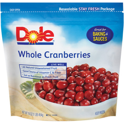 DOLE Whole Cranberries 16 OZ STAND UP BAG