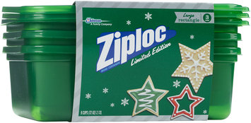 Ziploc® One Press Seal Holiday Green Large Rectangle Container 3 ct Sleeve