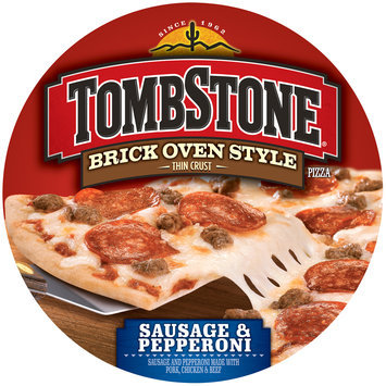 tombstone brick oven style thin crust sausage & pepperoni pizza