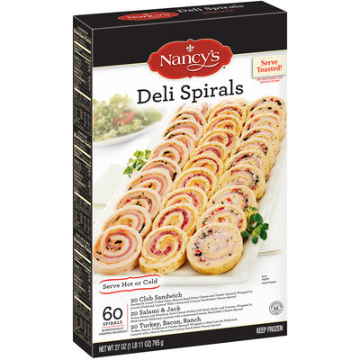Nancy's® Club Sandwich, Salami & Jack, and Turkey, Bacon, Ranch Deli Spirals 27 oz. Box