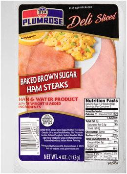 Plumrose® Deli Sliced Baked Brown Sugar Ham Steaks 4 oz. Package