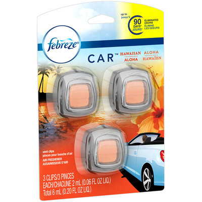 Febreze CAR Vent Clip Hawaiian Aloha Air Freshener (3 Count, 0.20 oz)