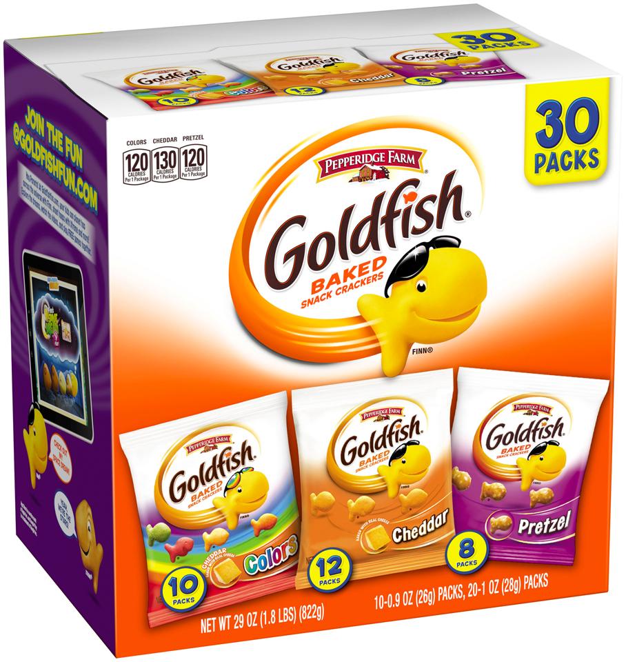 Pepperidge Farm® Goldfish® Colors/Cheddar/Pretzel Baked Snack Crackers Variety Pack 30 ct Box
