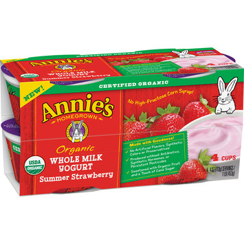 Annie's® Summer Strawberry Organic Whole Milk Yogurt 4-4 oz. Cups