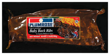 Plumrose W/Smokey Barbecue Sauce Fully Cooked 2 Racks Ribs Baby Back  30.4 Oz Well