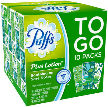 Compact Plus Puffs Plus Lotion Facial Tissues, 10 To Go Packs, 10 Tissues per Pack