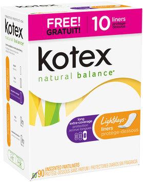 Kotex Natural Balance® Lightdays® Long Extra Coverage Unscented Pantiliners 90 ct Box