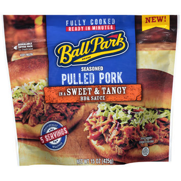 Ball Park® Seasoned Pulled Pork in a Sweet & Tangy BBQ Sauce 15 oz. Stand Up Bag