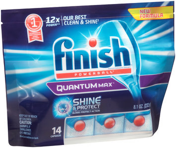 Finish® Powerball® Quantum Max™ Shine & Protect Automatic Dishwasher Detergent Capsules 14 ct Pouch