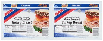 Dak® Oven Roasted Turkey Breast 2-14 oz. ZIP-PAK®