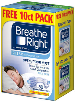Breathe Right® Clear Small/Medium Nasal Strips Free 10 ct. Pack 40 ct. Box