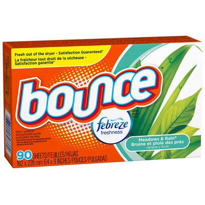 Bounce with Febreze Meadows & Rain Fabric Softener Sheets 90 ct Box