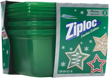 Ziploc® One Press Seal Holiday Green Medium Square Containers 3 ct Sleeve