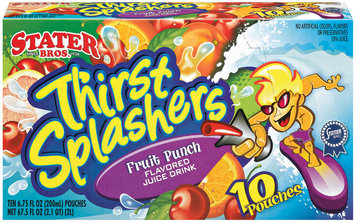 Stater Bros. Thirst Splashers Fruit Punch 6.75 Fl Oz Pouches Juice Drink 10 Ct Box