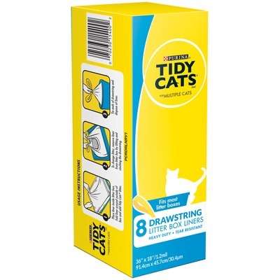 Purina Tidy Cats Drawstring Litter Box Liners for Multiple Cats 8 ct Box