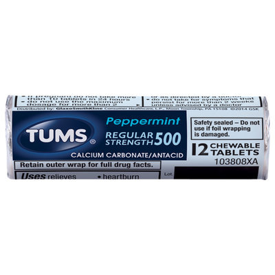 Tums® Regular Strength 500 Peppermint Antacid/Calcium Carbonate Chewable Tablets 36 ct Pack