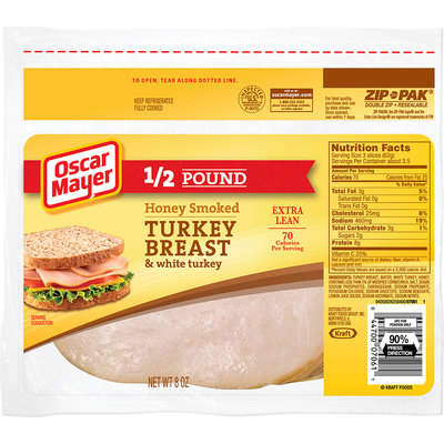 Oscar Mayer Honey Smoked Turkey Breast Cold Cuts 8 oz. ZIP-PAK®