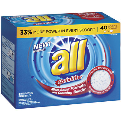 all® stainlifter® Micro-Boost Formula w/ Cleaning Beads Powder Laundry Detergent 40 Loads 52 oz. Box