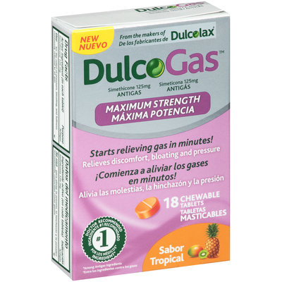 Dulcolax® DulcoGas™ Maximum Strength Tropical Antigas 125mg Chewable Tablets 18 ct Box