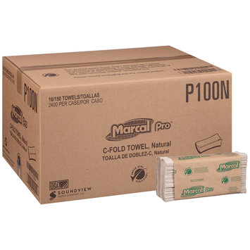 Marcal Pro-Putney Natural C-Fold Towel 16-150 ct Sleeves