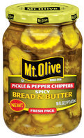 Mt. Olive Spicy Bread & Butter Chippers Pickles & Peppers 16 Oz Jar
