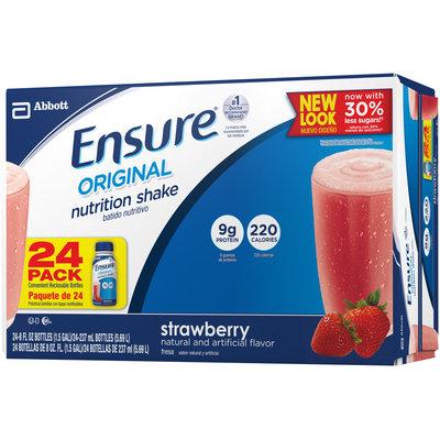 Ensure® Strawberry Original Nutrition Shake 24-8 fl. oz. Bottles