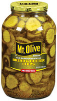 Mt. Olive Bread & Butter Chips Old Fashioned Sweet Fresh Pack Pickles 64 Oz Jar