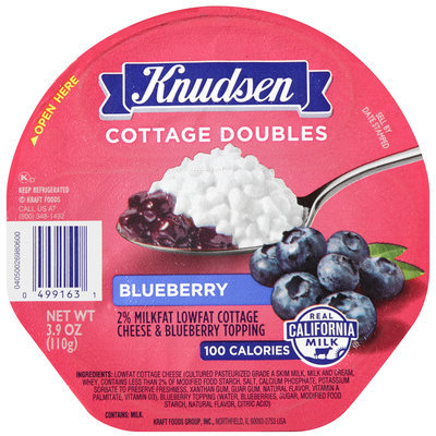 Knudsen Cottage Doubles Cottage Cheese & Blueberry Topping 3.9 oz. Tray